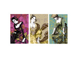 Patterned Dresses Triptych Posters