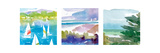 Sailboats and Lake I Triptych Premium Giclee Print