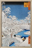 "Drum Bridge at Meguro, from the Series ""100 Views of Edo"" Poster von Ando Hiroshige"
