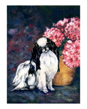 Japanese Chin and Hydrangeas Giclee Print by Kathleen Sepulveda
