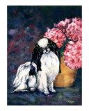 Japanese Chin and Hydrangeas Giclee Print by Kathleen Sepulveda