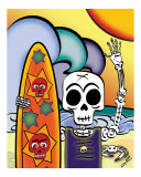 El Surfeador - The Skeleton Surfer Photographic Print by Ladislao Loera