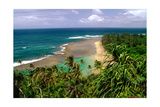 Panoramic view of Kee-e Beach, Kauai, Hawaii Photographic Print by George Oze