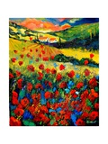 Poppies In Tuscany Giclee Print by Ledent