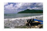 Fishing Boat on Maunabo Beach, Puerto Rico Photographic Print by George Oze