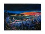 Landscape Sunset on Village in Winter Arte por  Ledent