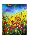 Red Poppies and Bluebells Giclee Print by  Ledent