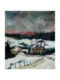 Snow in Sechery Village Ardennes Posters por  Ledent