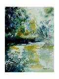 Watercolor Blue Pond Arte por  Ledent