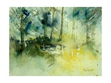 Light on a Pond in a Wood Giclee Print by  Ledent