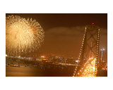 San Francisco Bay Bridge KABOOM Fireworks Show Photographic Print by Chris Henderson