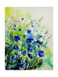 Watercolor Bluebell Flowers Giclee Print by Ledent 
