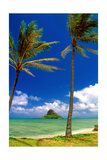 Chinamens Hat in Kaneohe Bay, Hawaii Photographic Print by George Oze
