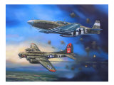 B-17 and P-51 Mustang Giclee Print by jack connelly