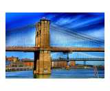 Brooklyn Bridge & Deep Blue Skies Giclee Print by New Yorkled