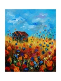 field flowers and old barn Posters por  Ledent