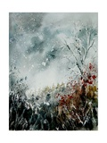 Watercolor Snow and Red Leaves Arte por  Ledent
