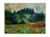 Field with Red Poppies and Daisies Pôsters por  Ledent