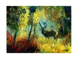 A Stag in the Wood Giclee Print by Ledent