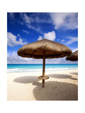 Palapa Umbrella on Cancun Beach, Mexico Photographic Print by George Oze