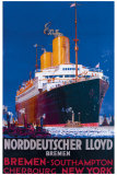 Norddeutscher Llyod Bremen Giclée-tryk af Harry Hudson Rodmell