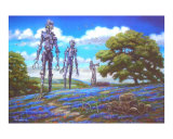 Robots and Bluebonnets Giclee Print by jack connelly
