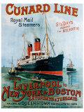 Cunard Line, Liverpool to New York Giclée-Druck von R.m Neville Cumming