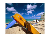 Bright Colored Surfboards on Waikiki Beach Photographic Print by George Oze