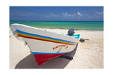 Fishing Boat on Playa Del Carmen, Mexico Photographic Print by George Oze