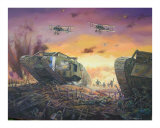 British Tanks Breakthrough on the Western Front Giclee Print by jack connelly