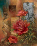 Peony Montage Art by Elaine Vollherbst-Lane