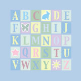 Alphabet on Blue Affiches par Marilu Windvand