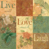 Shabby Chic Nine Patch: Live Laugh Love Affiches par Grace Pullen