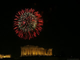 Fireworks Illuminate the Ancient Parthenon on New Years, Athens, Greece, c.2007 Photographic Print by Kostas Tsironis