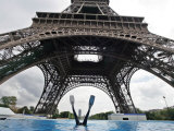 Scuba Diving under the Eiffel Tower, Paris, France Photographic Print by Michael Sawyer