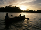 Two Children Sail in the Cocibolca Lake, Managua, Nicaragua Photographic Print by Esteban Felix