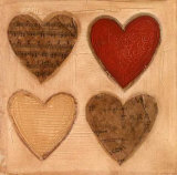 Four Hearts with Red Prints by Roberta Ricchini