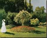 Jeanne Marguerite Lecadre in a Garden, c.1867 Stretched Canvas Print by Claude Monet