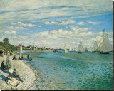 Regatta at Ste-Adresse Stretched Canvas Print by Claude Monet