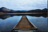 Emigrant Lake Dock I Stretched Canvas Print by Shane Settle