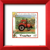 A Blurry Tractor Moving with Speed in a Brown Field Print by Lila Rose Kennedy