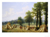 View of Harvesting near Warwick Giclee Print by Thomas Baker