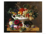 Classical Urn with Gooseberries, Apricots, Nuts and Currants Reproduction procédé giclée par Johan Laurentz Jensen