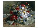 Daisies, Cornflowers Anf Poppies Giclee Print by Eugene Henri Cauchois