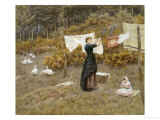 Hanging the Washing Giclee Print by Helen Allingham