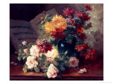 Chrysanthemums and Roses Giclee Print by Eugene Henri Cauchois