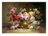 Rich Still Life of Pink and Yellow Roses Giclee Print by Alfred Godchaux