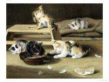 Kittens at Play Giclee Print by Siegwald Dahl