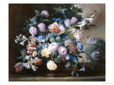 Rich Still Life of Summer Flowers Giclee Print by Elise Bruyere