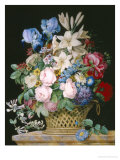 Rich Still Life of Flowers in a Basket Giclee Print by Alexandre-Francois Desportes